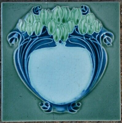 Richards England - Antique Art Nouveau Majolica Tile C1900