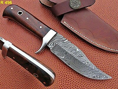 Custom Hand Made Damascus steel Hunting Skkiner Knife With Rose Wood Handle.