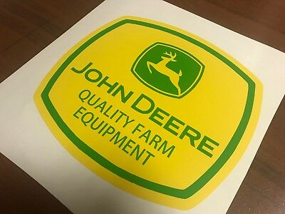 John Deere GREEN YELLOW Harvester Farmal Rare Vinyl Decals Stickers pair