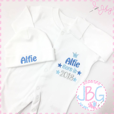 Personalised Baby Sleepsuit and hat set, Baby Clothes, Born 2018, Embroidered