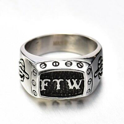 Mens Gothic Punk Biker Jewellery Silver Stainless Steel FTW Middle Finger Rings
