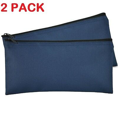 Deposit Bag Bank Pouch Zippered Safe Money Bag Organizer in Navy Blue 2 QTY Pack