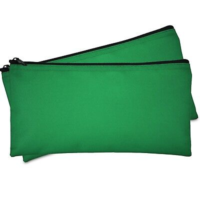 Deposit Bag Bank Pouch Zippered Safe Money Bag Organizer in GREEN (2 QTY Pack)