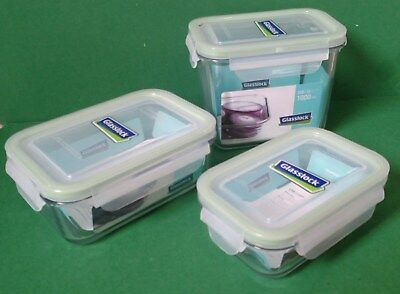 Glasslock Tempered Glass Food Storage Containers, Microwaveable, 6 pcs ~ NEW
