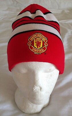 Manchester United Striped Fan Adult Beanie Red/White/Black Brand New with Tags