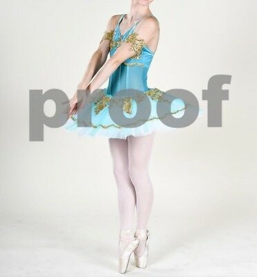 Costume gallery small adult pointe ballet costume, turquoise/gold