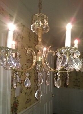 Vintage Spain Spanish Brass Ornate Chandelier w/ Crystal Czech Prisms 5 Lights