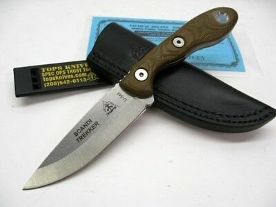 TOPS Green Micarta SCANDI TREKKER Straight Fixed Blade Knife + Sheath! STREK-3.5