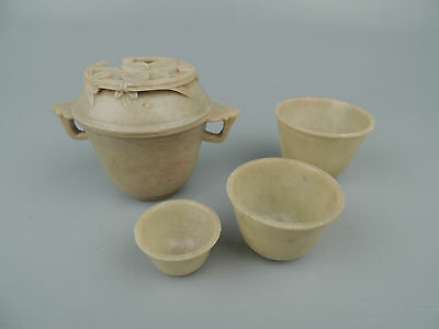 Old or Antique Chinese Soapstone Set of 4 Graduated Cups with Lid VR
