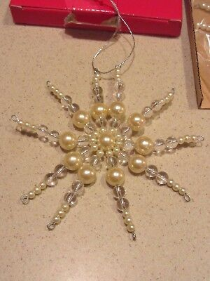 NEW-Snowflake Ornament- Pearl and Clear Beads-  Very Pretty!  No Box