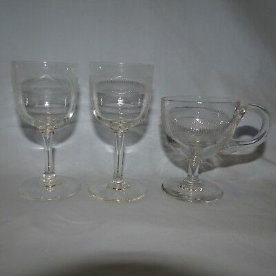 Job Lot Victorian Edwardian Pall Mall 2 Sherry Glass And Custard Cup