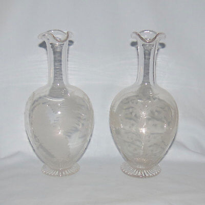 2 Victorian Wheel Cut Fine Glass Carafes Fern And Floral Decor