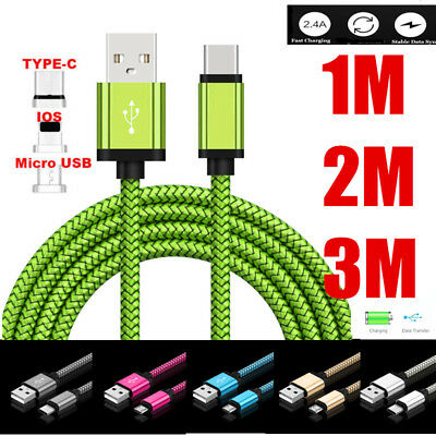 Fast Braided 1M 2M 3M USB C 3.1 Data Snyc Charger Cable For Type C Micro USB