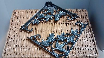 2 Grapes Vine & Leaf Shelf Brackets for kitchen or garden