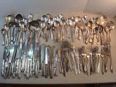 128 PC Lot SILVERPLATE SCRAP Flatware ARTS & CRAFTS Some Usable Nice Variety