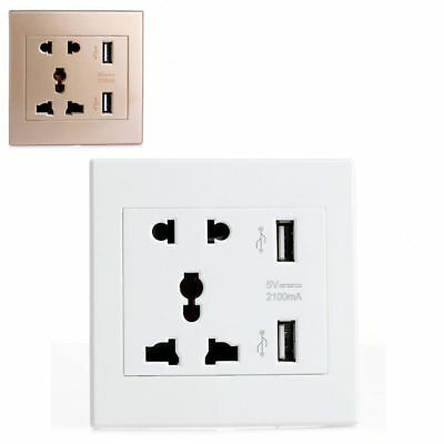 2-Port USB Electric Power Wall Charger Dual USB Socket Adapter Plug Station
