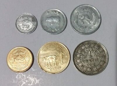 Nepal lot of 6 different Nepalese coins Paisa & Rupees