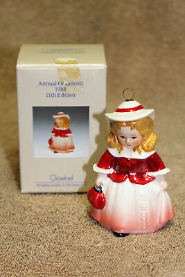 MIB The Doll Red Dress Colored Goebel 1988 Annual Ornament 11th Edition