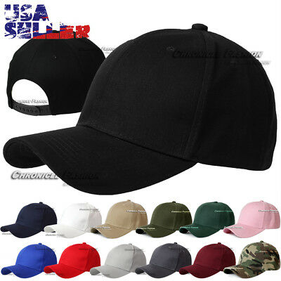 Plain Snapback Curved Visor Baseball Cap Hat Solid Blank Plain Color Caps Hats