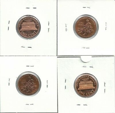 USA 1 cent (4 coins) - Proof & about Mint Condition
