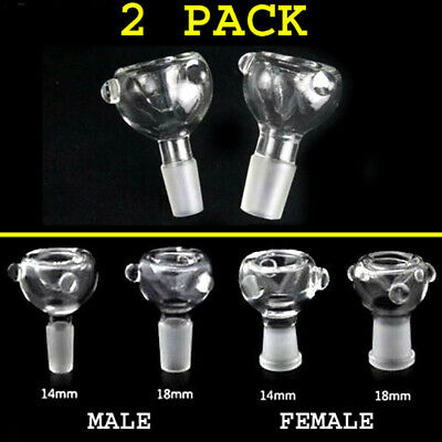 14mm / 18mm Male Female Clear Round Glass Slide Bowl Downstem Colors