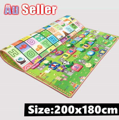 2x1.8m 3 Size Kids Baby Crawl Play Mat Game Alphabet Rug Floor Blanket