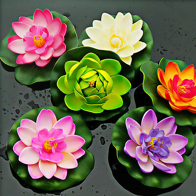 Floating Lotus Artificial Flower Water Lily Garden Pool Fishpond Plant Decor