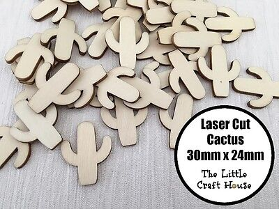 5 x 30mm Cactus Wooden Laser Cut Shape Ply Blank Craft Wood Shapes Flatback DIY
