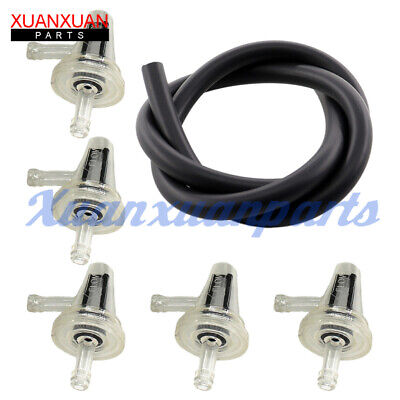 "5x 1/4"" In-line Inline Motorcycle Fuel Filter 90 Degree L Angle 1/4 inch 6mm 7mm"