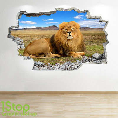 LION CUBS WALL STICKER 3D LOOK BEDROOM LOUNGE TIGER NATURE WALL DECAL Z134