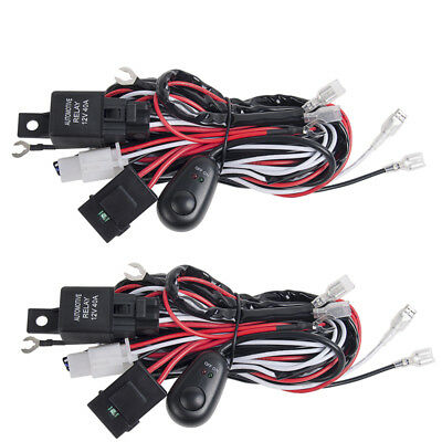 2pc 12V Wiring Loom Harness Kit Relay Switch 40A LED Light Bar Spot Work Driving
