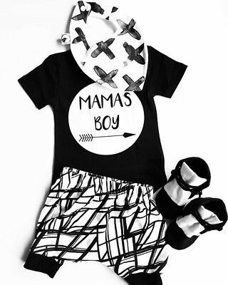 Newborn Infant Baby MAMAS Boy Toddler Cotton T-shirt Tops+Pants Outfit Clothes