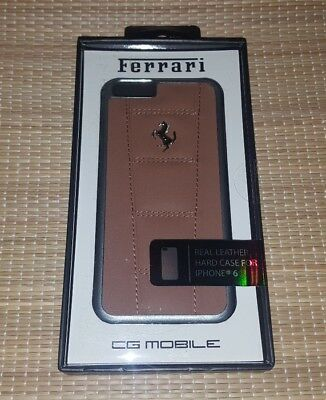 Ferrari 458 Camel Brown Real Leather Hard Case w/ Silver Emblem for iPhone 6 NEW
