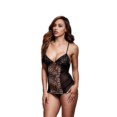 Baci - Leopard Basque & Garter Stays No Panty One Size Baci - Leopard Baschi & G