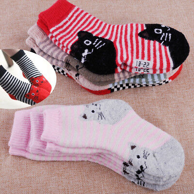 5 Pairs Child Baby Kids Cashmere Wool Socks Girls Boys Thick Warm Sock Winter