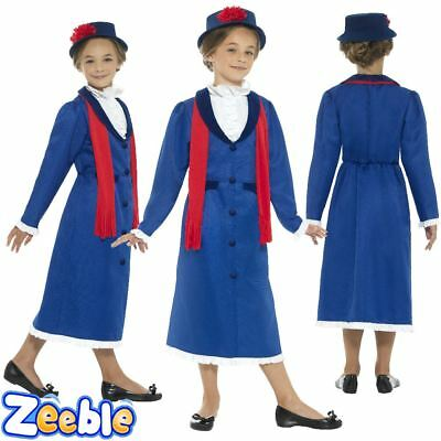 Girls Mary Costume Victorian Nanny Book Week Fancy Dress Outfit Age 4 - 12+ Y