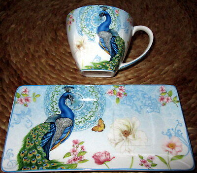 """""""peacock"""" Bone China Cup & Plate/saucer  Breakfast Set In Matching Gift Box!"""