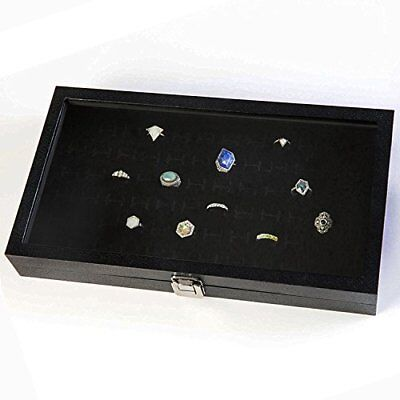 Ring Display Case Organizer Glass Top Jewelry Storage Box 72 Slot Tray Holder