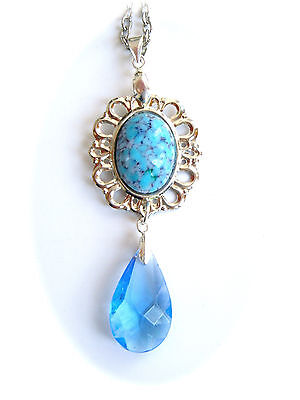 Vintage Antique Art Deco Nouveau Style BLUE Czech Glass Pendant Necklace Aqua