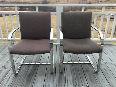 Pair Of Chairs In Knoll Brno Style, Flat Bar