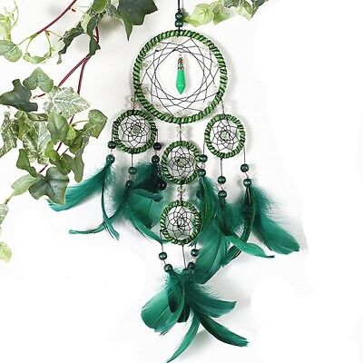 Hanging Dream catcher Handmade Traditional Green Feather Decoration Craft Gift
