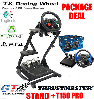 GT ART Racing Simulator Steering Wheel Stand +THRUSTMASTER T80 T150 PRO TMX PACK