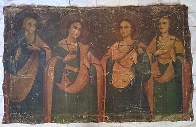 Antique Russian Orthodox Icon Hand-Painted on Canvas 19th century.