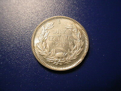 Chile - Silver - 1913 10-Centavos In Uncirculated Condition