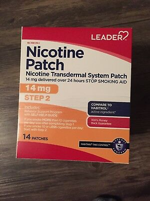 Leader Nicotine Transdermal Patch, Step 2, 14mg, 14ct, NEW IN BOX FREE SHIPPING!