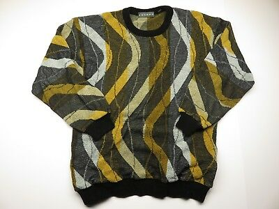 VTG TUNDRA Multi-Colored Knit Men's Sweater Adult Size Medium Made in Canada