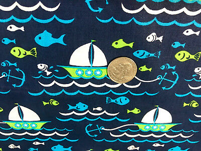 "BTY~FABRIC FINDERS 100/% COTTON ~ NAUTICAL ANCHORS ~ AQUA ~ 59/""W"