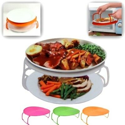 """9"""" Microwave Plate Platform with Folding Legs Stand Space Saving CookFood Evenly"""