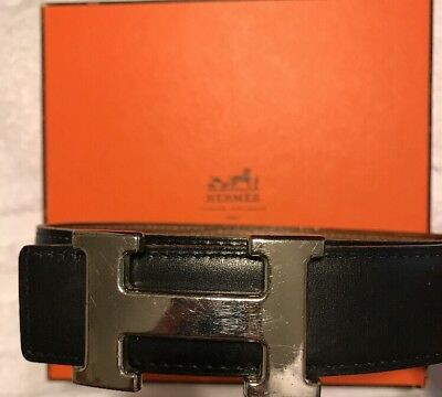 Authentic HERMES H Reversible Belt Black Brown Leather Size 65 E