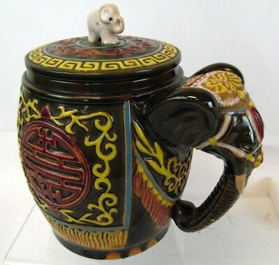 "Vintage 10"" Studio Pottery India China Royal Asian Elephant Cookie Jar Canister"